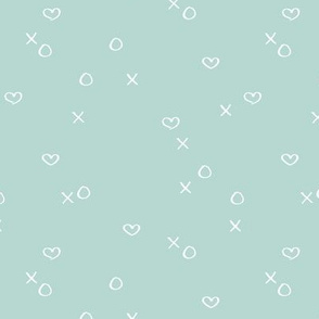 xoxo love sweet hearts and kisses minimal valentine print for lovers wedding and nursery soft mint boys