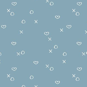 xoxo love sweet hearts and kisses minimal valentine print for lovers wedding and nursery blue winter