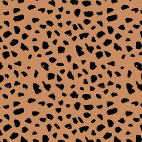 Animal print love brush spots and ink dots hand drawn modern cheetah dalmatian fur  pattern Scandinavian style cinnamon brown black