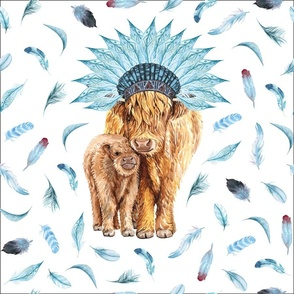 """blue feather highland cow lovey - 18x18"""""""