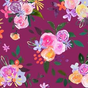 Prismatic Blooms Watercolor // Raspberry