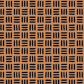 Little abstract mudcloth minimal checkered plaid design Scandinavian style cinnamon brown black