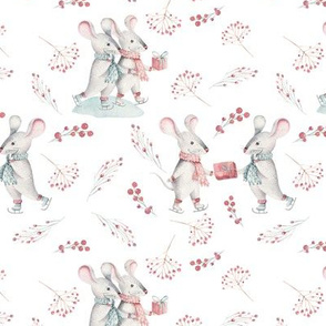 """6"""" Winter Fun with little Mice - Hand drawn watercolor woodland pattern  2"""