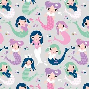 Little magic wonder dreams mermaids and tail deep see swim kids illustration gray mint pink lilac