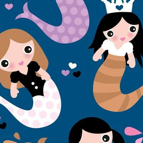 Little magic wonder dreams mermaids and tail deep see swim kids illustration classic blue lilac pink LARGE