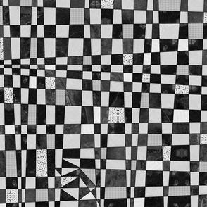 checkerboard - black white and gray