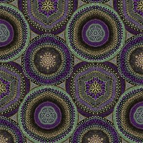 Kaleidoscope Medallions Celadon and Purple