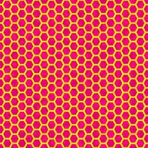 Honey comb yellow on pink