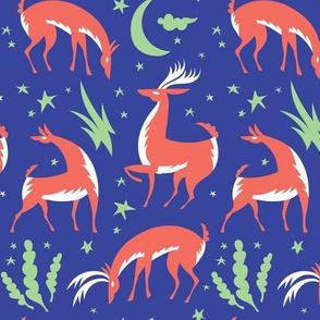 Winter Deer In Blue