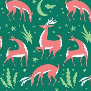 Winter Deer in Green
