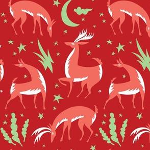 Winter Deer in Red