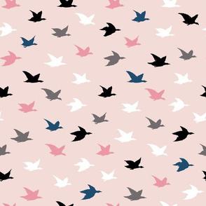 Pink Feminine Crane Birds Japanese