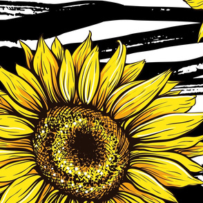 Modern Black Inked Sunflowers