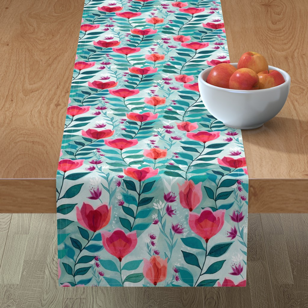 Minorca Table Runner featuring Pastel tulips by adenaj
