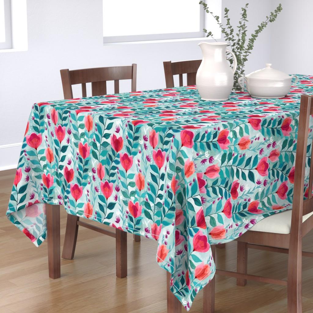 Bantam Rectangular Tablecloth featuring Pastel tulips by adenaj