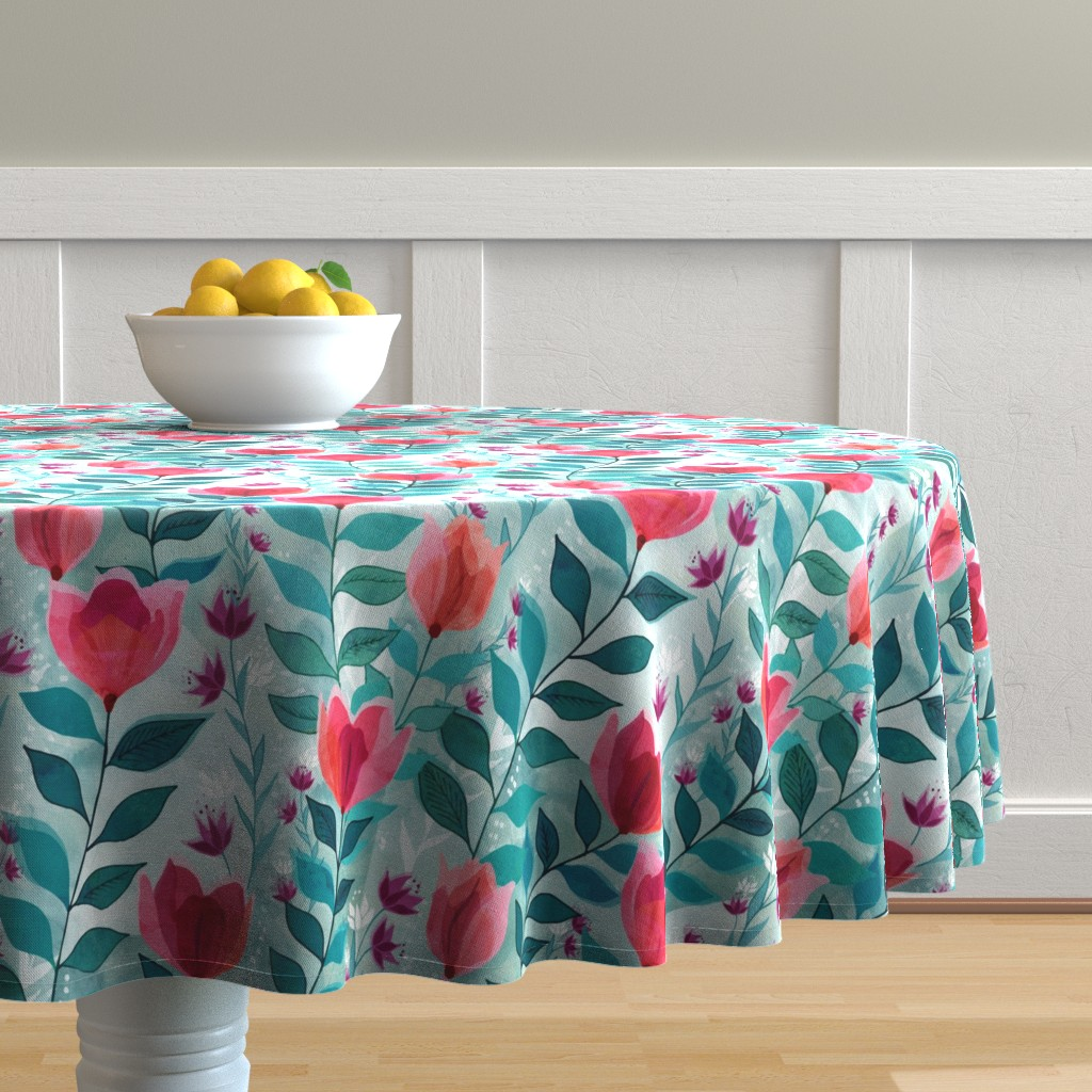 Malay Round Tablecloth featuring Pastel tulips by adenaj