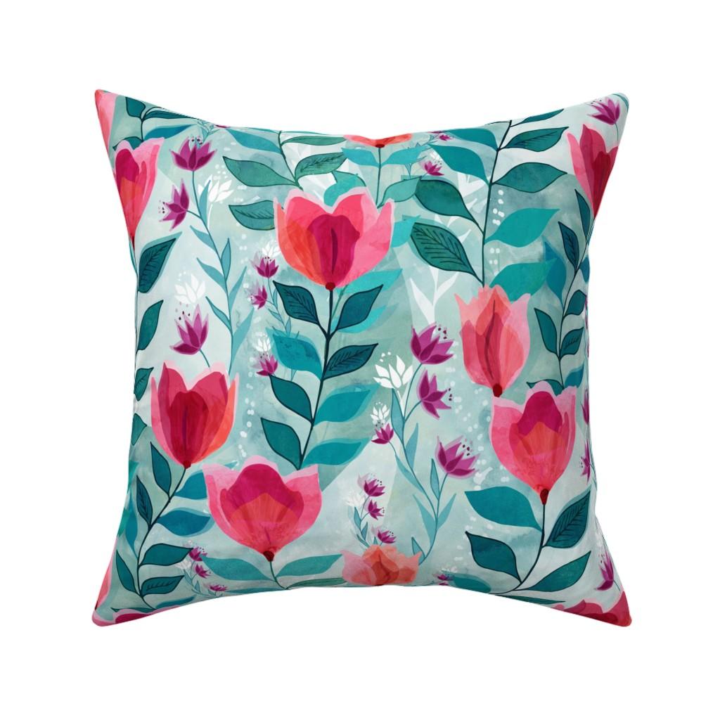 Catalan Throw Pillow featuring Pastel tulips by adenaj