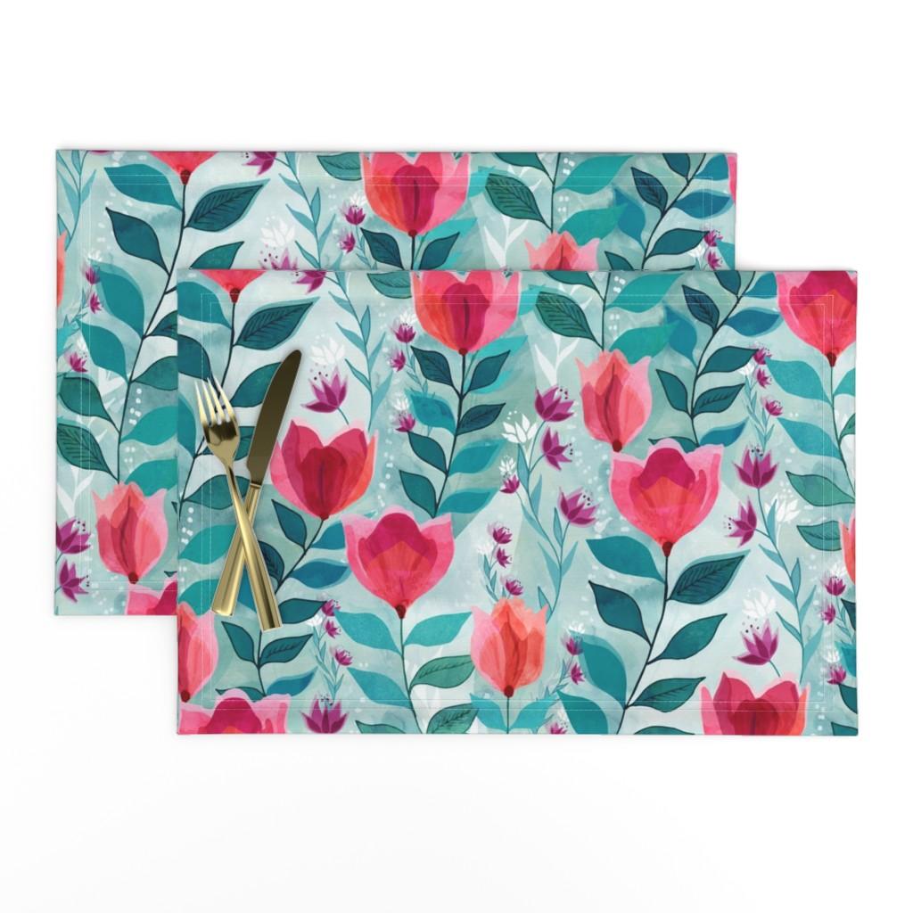 Lamona Cloth Placemats featuring Pastel tulips by adenaj