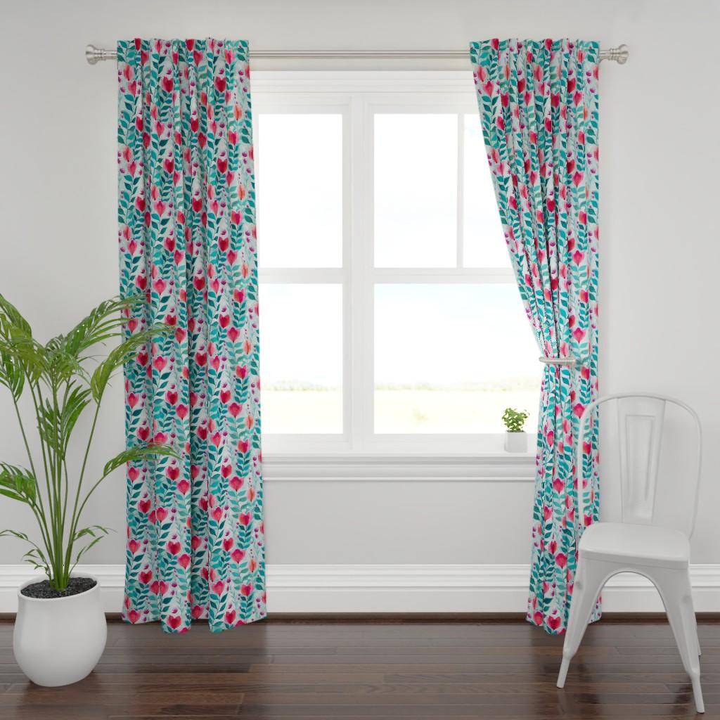 Plymouth Curtain Panel featuring Pastel tulips by adenaj
