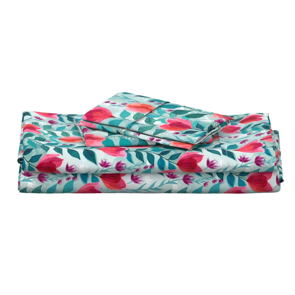 Langshan Full Bed Set featuring Pastel tulips by adenaj