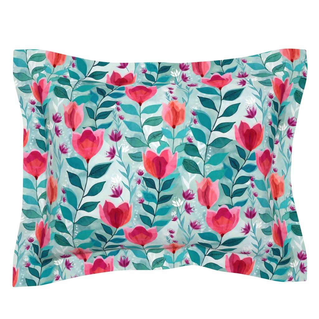 Sebright Pillow Sham featuring Pastel tulips by adenaj