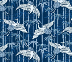 Cranes and bamboo