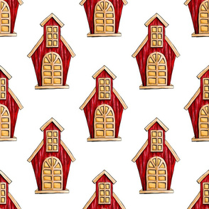 Red Cute Houses on White
