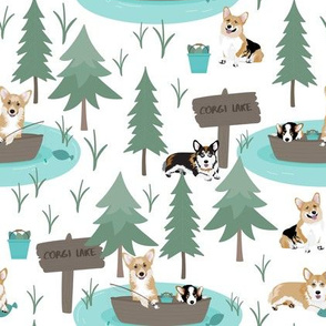 "8""  cute welsh cardigan corgis are fishing in forest lake painted sport design corgi lovers will adore this fabric -white"