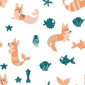 "8"" cute welsh cardigan corgis are mermaids in the deep ocean animals design corgi lovers will adore this fabric -white"
