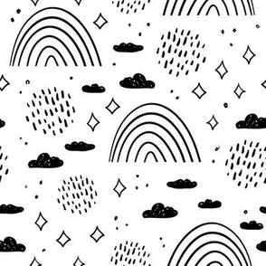 magic tale pattern rainbow , sky clouds and stars