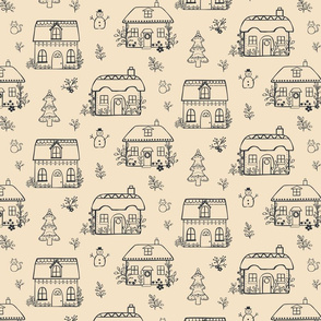 Gingerbread cottages cream