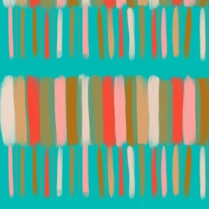 muted rainbow stripes with teal