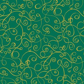 Gold Scrolls on Green