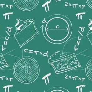 Math of Pi(e) on green - small scale