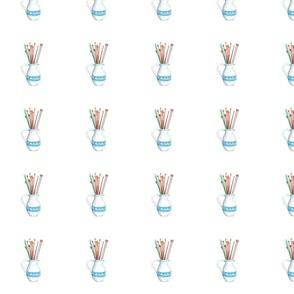 """Knitting Needles in Vase 4"""" x 4"""""""