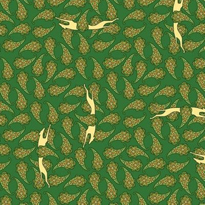 Green Paisley Overall with Greyhounds