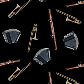 let's start a band! black - accordion, bassoon and trombone toss