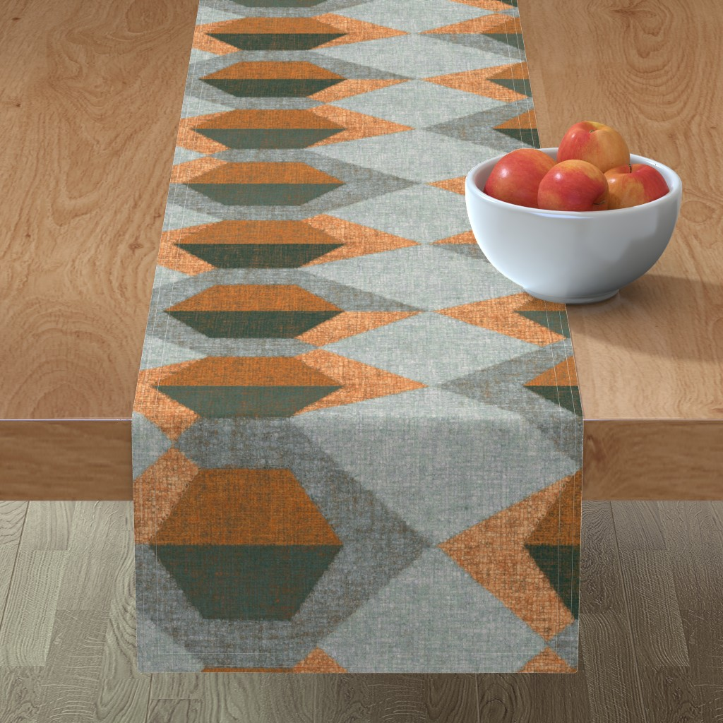 Minorca Table Runner featuring Blockchain_copper by ormolu