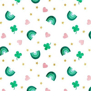 Rainbows and clovers - St Pattys Day - Lucky Rainbows - hearts - LAD19