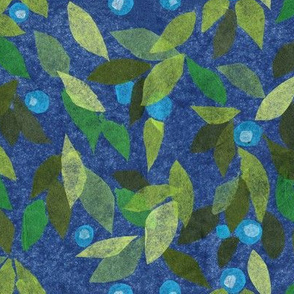 Blue Berry Green Leaves Papercut Paper Collage Pattern