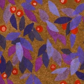 Blue Berry Paper Collage Pattern Julia Khoroshikh Purple Gold Orange