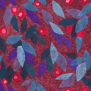 Blue Berry Paper Collage Pattern Julia Khoroshikh BLUE RED