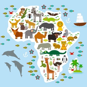 Animal Africa. Map blanket Size Yards (42 width)