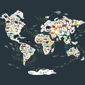 Cartoon animal world map on dark grey background Size Yards (42 width)