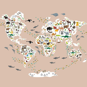 Cartoon animal world map Animals from all over the world Size Yards (42 width)