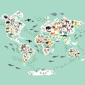 animal world map on blue mint background Size Yards (42 width)
