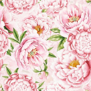 "12""  Hand painted watercolor blush peonies flower pattern fabric on pink-double layer"
