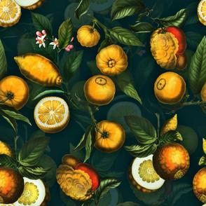 """18"""" Delicious Vintage Citrus Fruit Pattern Teal"""