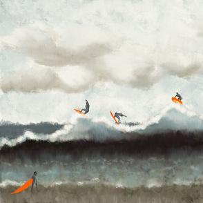 Wall Hanging 1-Yard Abstract ocean surfer  no repeat
