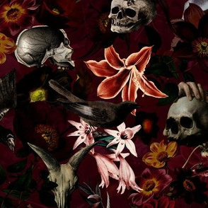 "12"" Antique Skulls and Flowers, Goth Fabric, Gothic Pattern  dark red"